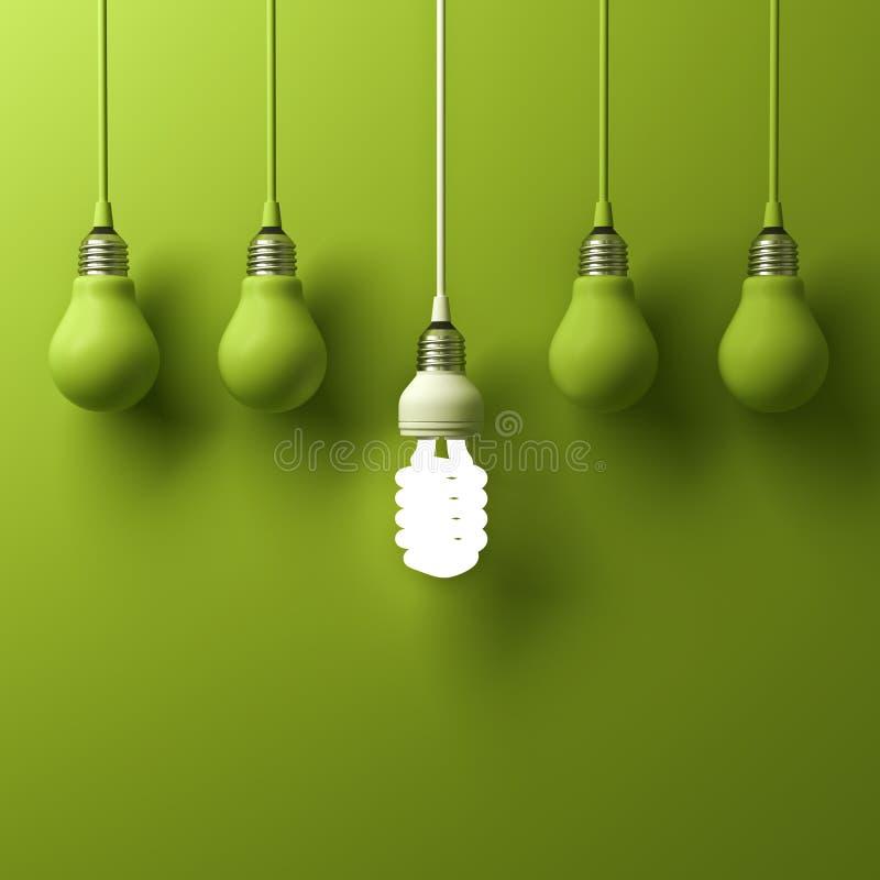 En hängande energi - sparande glödande olikt anseende för ljus kula ut från unlit glödande kulor royaltyfri illustrationer