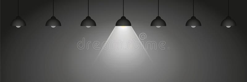En hängande lampa glöder bland många andra stock illustrationer