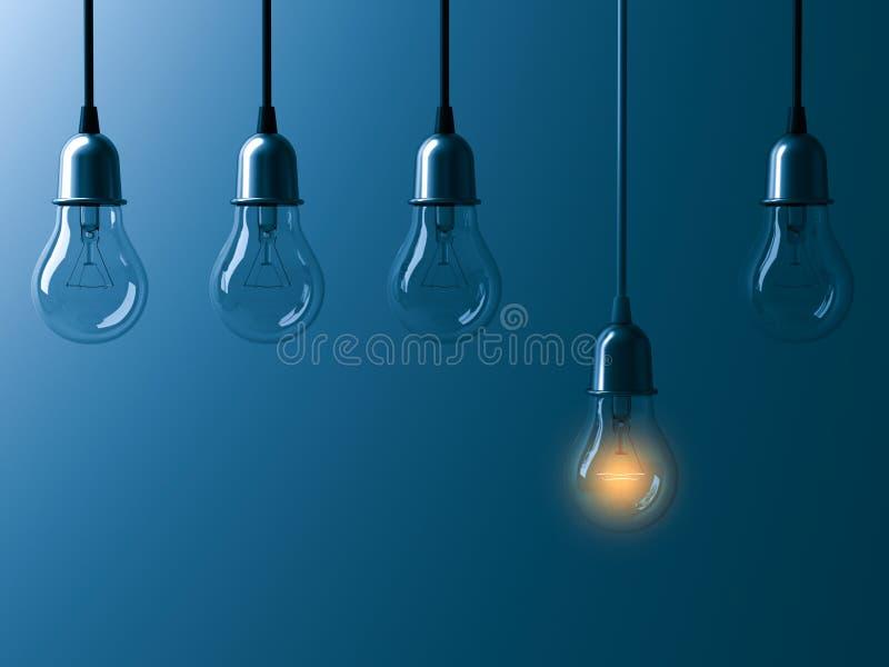 En hängande ljus kula som glöder olik, och anseende ut från unlit glödande kulor med reflexion på mörk cyan bakgrund vektor illustrationer