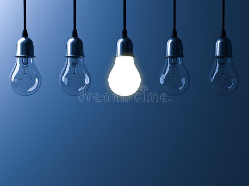 En hängande ljus kula som glöder olik, och anseende ut från unlit glödande kulor med reflexion på mörker - blå bakgrund stock illustrationer