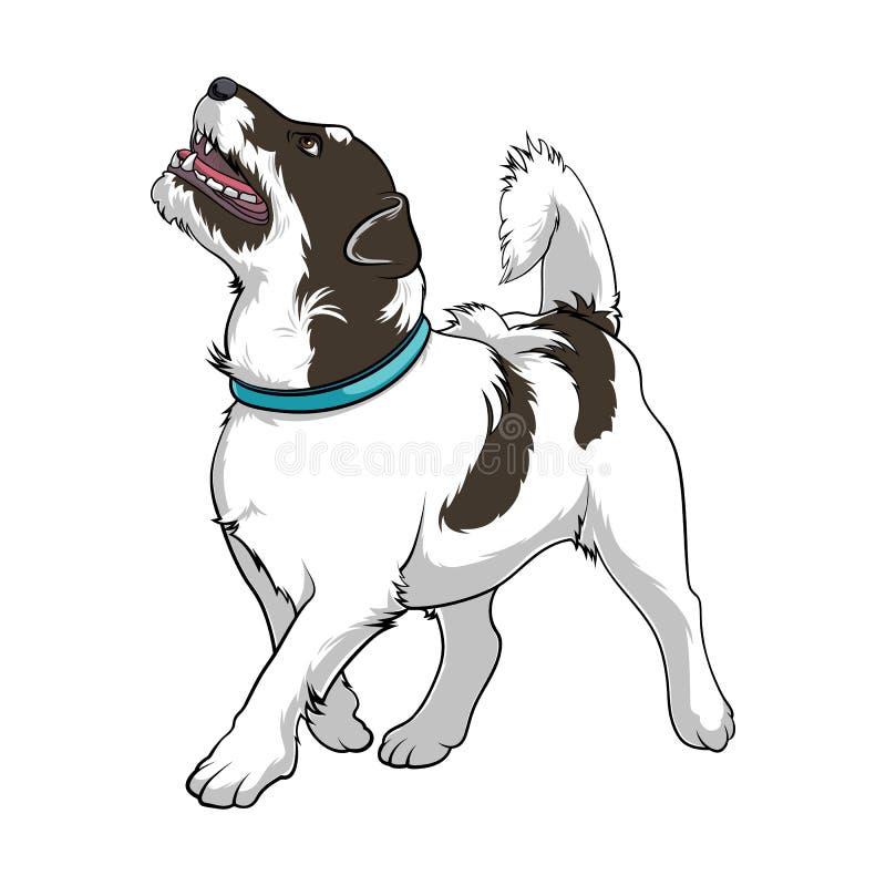En hängiven hund ser upp på värdshunden med en krage Hund med en lyftt svans Lagerföra vektorillustrationer stock illustrationer