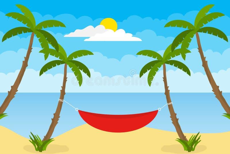 En hängmatta som sträcks mellan två, gömma i handflatan Begreppet av att koppla av på stranden Baner av sommarferier royaltyfri illustrationer