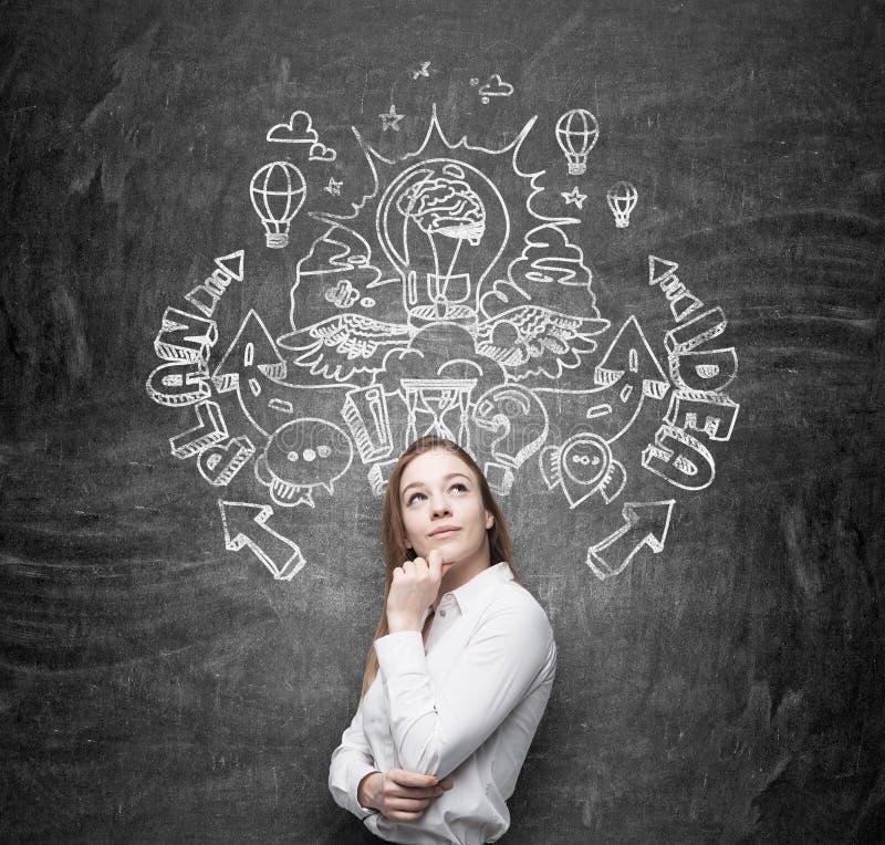 En härlig affärsdam drömmer om en uppfinning av nya affärsidéer för näringslivsutveckling Affärsplan och idé sk arkivbild
