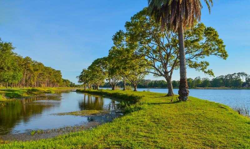 En härlig dag för en gå och sikten av ön på John S Taylor Park i Largo, Florida arkivbild