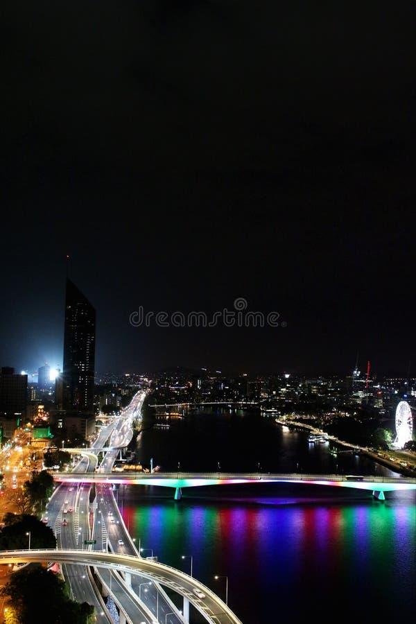 En härlig December natt i Brisbane, Australien royaltyfri fotografi