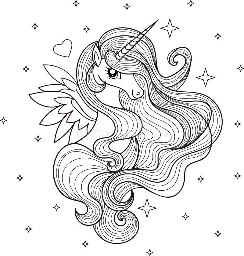 En härlig enhörning svart white vektor royaltyfri illustrationer