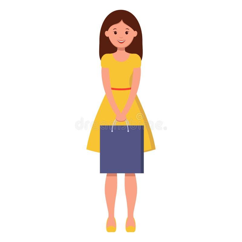 En härlig flicka i guling går med en shoppa påse stock illustrationer