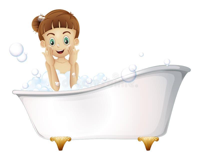 En härlig flicka som tar ett bad royaltyfri illustrationer