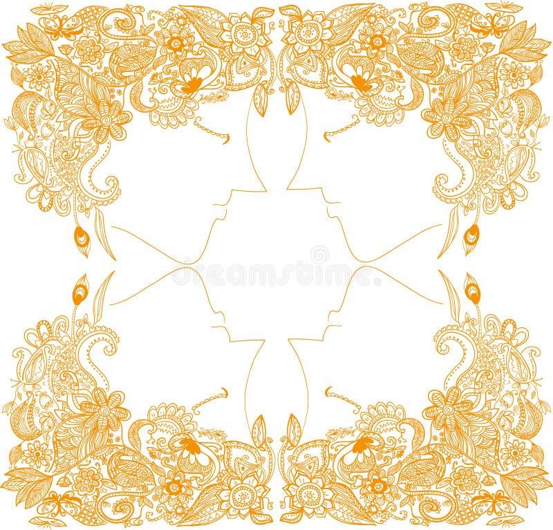 En härlig guld- hårhandteckning royaltyfri illustrationer