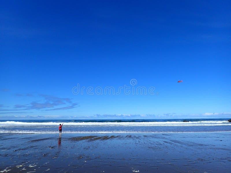En härlig klar dag på en strand med flickan och helikoptern royaltyfri foto