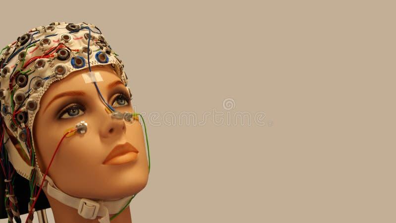En härlig kvinnadvärg med EEGhatten på slät bakgrund royaltyfria foton