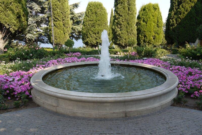 En härlig liten springbrunn i en enorm bunke av vatten med att växa för blommor runt om den mot bakgrunden av träd in royaltyfri fotografi