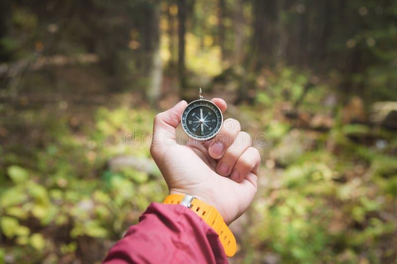 En härlig manlig hand med en gul klockarem rymmer en magnetisk kompass i den barrträds- höstskogen begreppet av royaltyfri fotografi