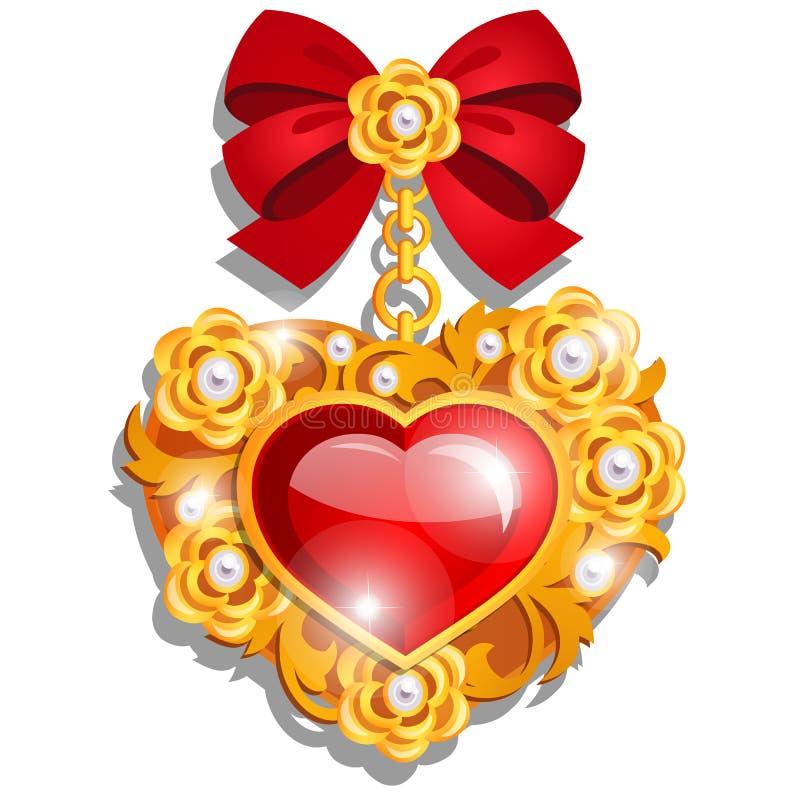 En härlig medalj i formen av en röd hjärta som gjordes av ädelstenar, ställde in i guld med bandpilbågen som isolerades på vit stock illustrationer