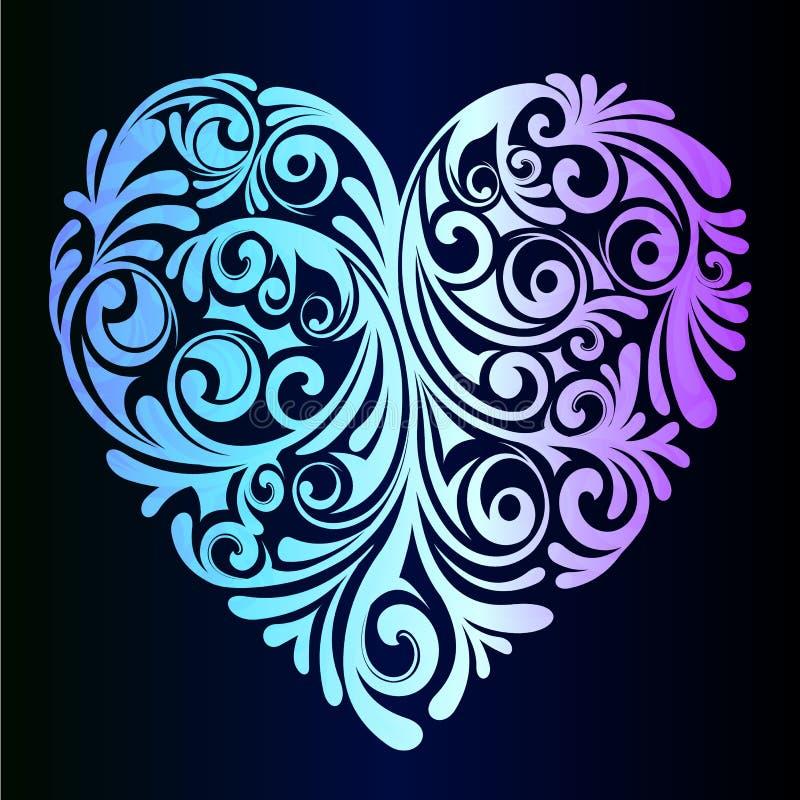 En härlig neonhjärta - en idé för ett romantiskt hälsningkort vektor illustrationer