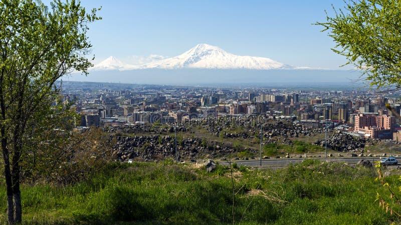 En härlig sikt av berget Ararat royaltyfri bild