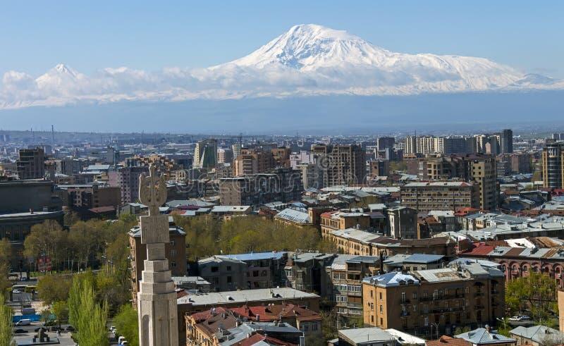 En härlig sikt av berget Ararat arkivbilder