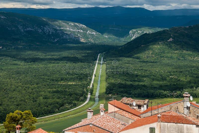 En härlig sikt av den långa vägen som långt borta leder från staden med röda belade med tegel tak till horisonten med gröna kulla royaltyfria bilder
