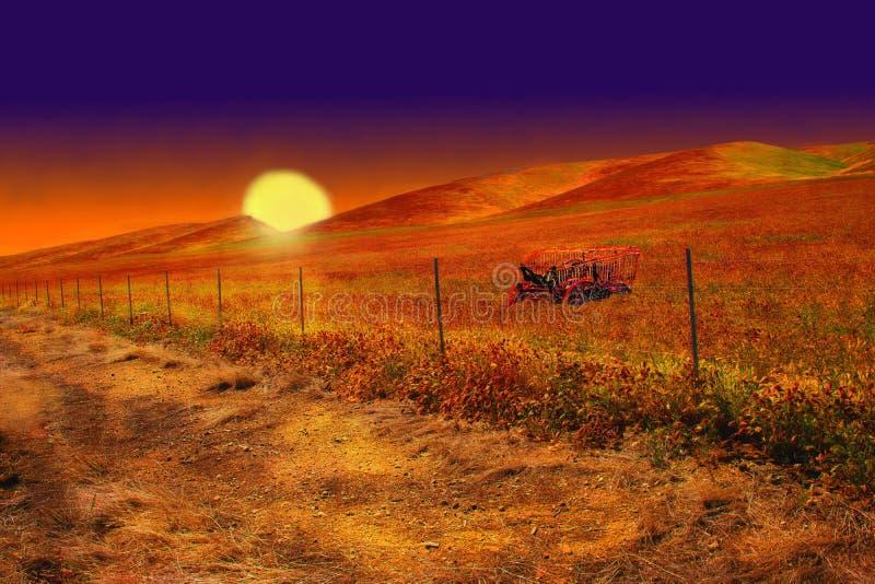En härlig solnedgång en inställningssol som glöder över fält och ängar arkivbild