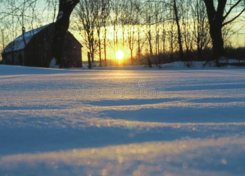 En härlig soluppgång i vinter arkivfoton