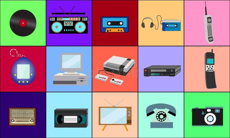 En härlig stor uppsättning av retro objekt av gammal teknologi för tappninghipsterelektronik från 70-tal, 80-tal, 90-tal på bakgr royaltyfri illustrationer