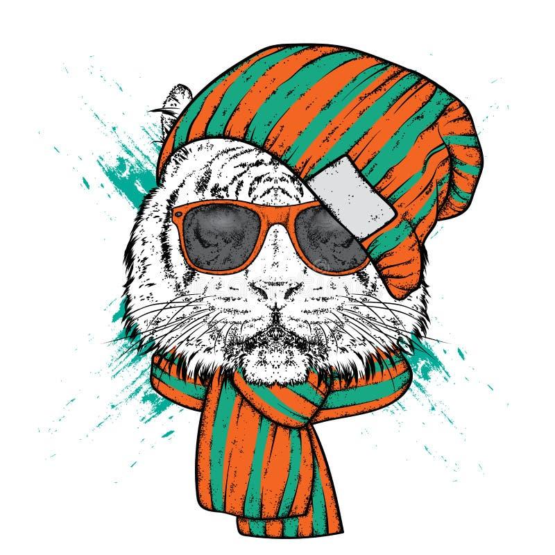 En härlig tiger i en stilfull hatt och halsduk Vektorillustration för tryck på kläder, vykort eller affischer stock illustrationer