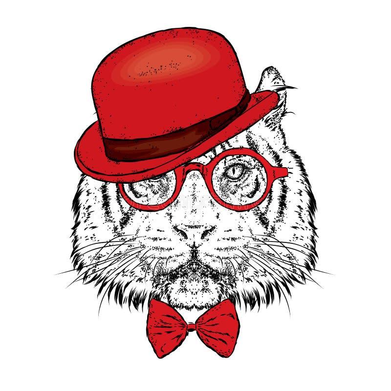 En härlig tiger med en hatt och exponeringsglas också vektor för coreldrawillustration Löst djur, rovdjur royaltyfri illustrationer