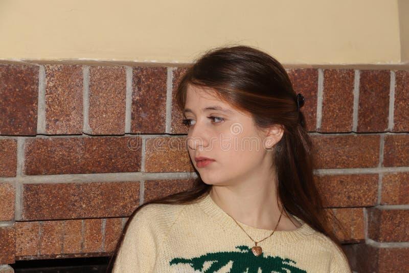 En härlig tonårs- flicka hemma arkivbild