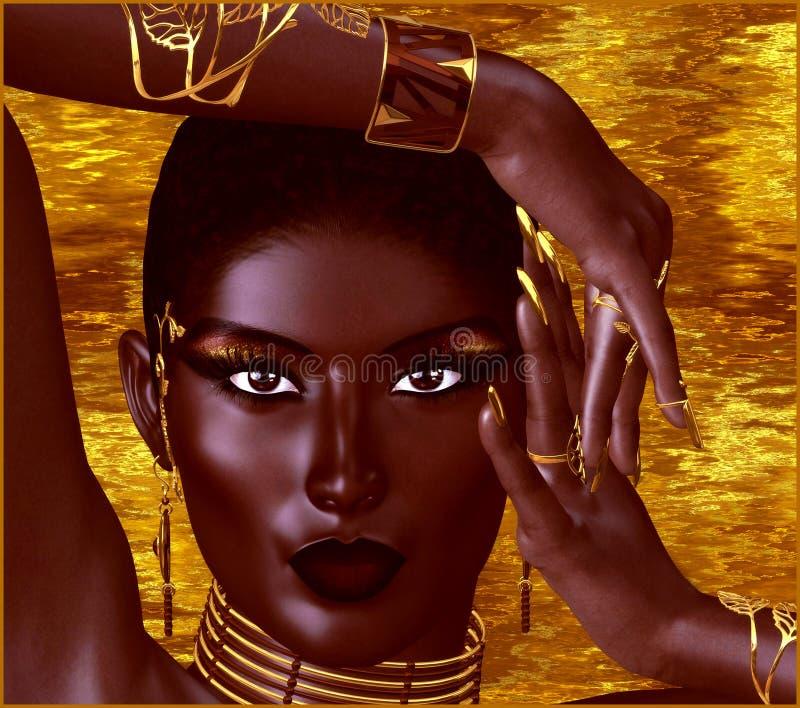 En härlig ung afrikansk kvinna som bär guld- smycken mot en guld- abstrakt bakgrund En unik digital konstskapelse av mode vektor illustrationer