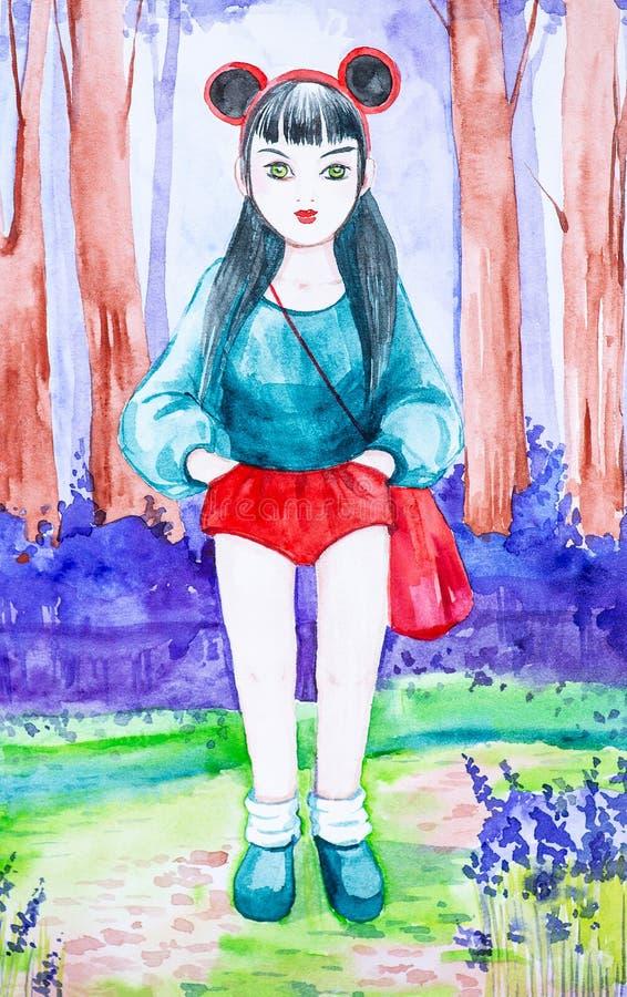 En härlig ung brunettflicka med långt svart hår står bara i den de iklädda röda kortslutningarna för skogen, blåa skjortan och bä stock illustrationer