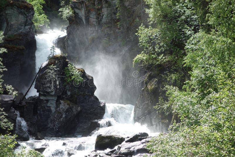 En härlig vattenfall i alaska royaltyfri foto