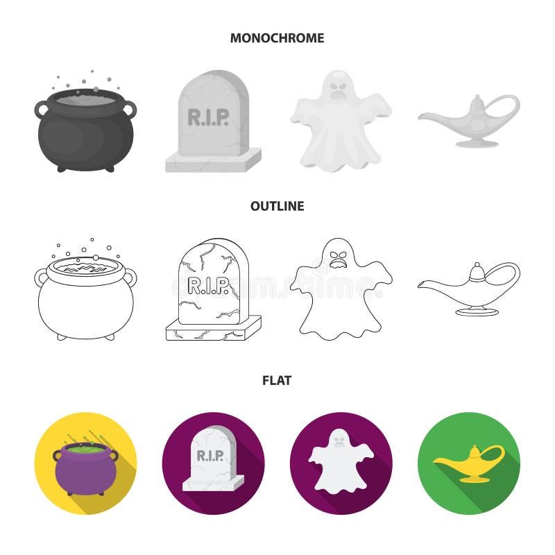 En häxakittel, en gravsten, en spöke, en ginlampa Svartvita symboler för magiuppsättningsamling i lägenheten, översikt, monokrom vektor illustrationer