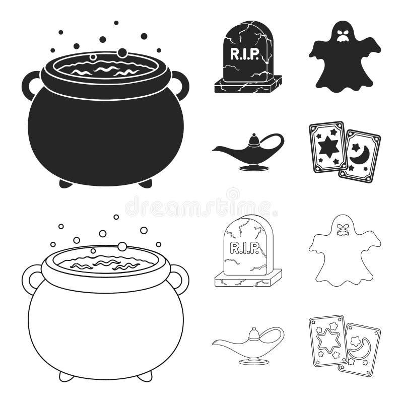 En häxakittel, en gravsten, en spöke, en ginlampa Svartvita symboler för magiuppsättningsamling i svart, översiktsstil vektor illustrationer