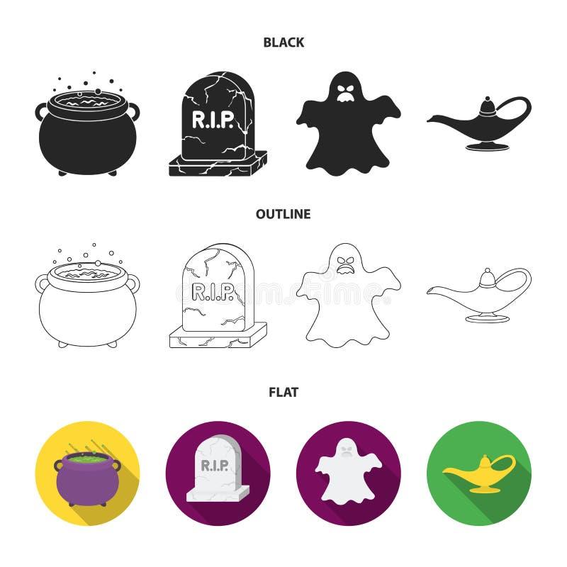 En häxakittel, en gravsten, en spöke, en ginlampa Svartvita symboler för magiuppsättningsamling i svart, lägenhet, översikt royaltyfri illustrationer