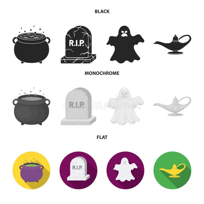 En häxakittel, en gravsten, en spöke, en ginlampa Svartvita symboler för magiuppsättningsamling i svart, lägenhet, monokrom vektor illustrationer