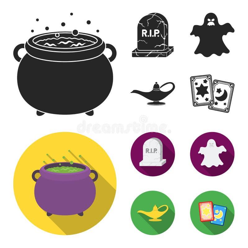 En häxakittel, en gravsten, en spöke, en ginlampa Svartvita symboler för magiuppsättningsamling i svart, lägenhetstil stock illustrationer