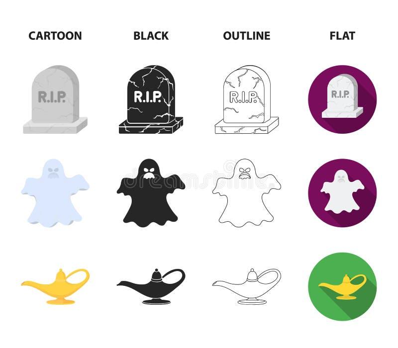 En häxakittel, en gravsten, en spöke, en ginlampa Svartvita symboler för magiuppsättningsamling i tecknade filmen, svart, översik vektor illustrationer