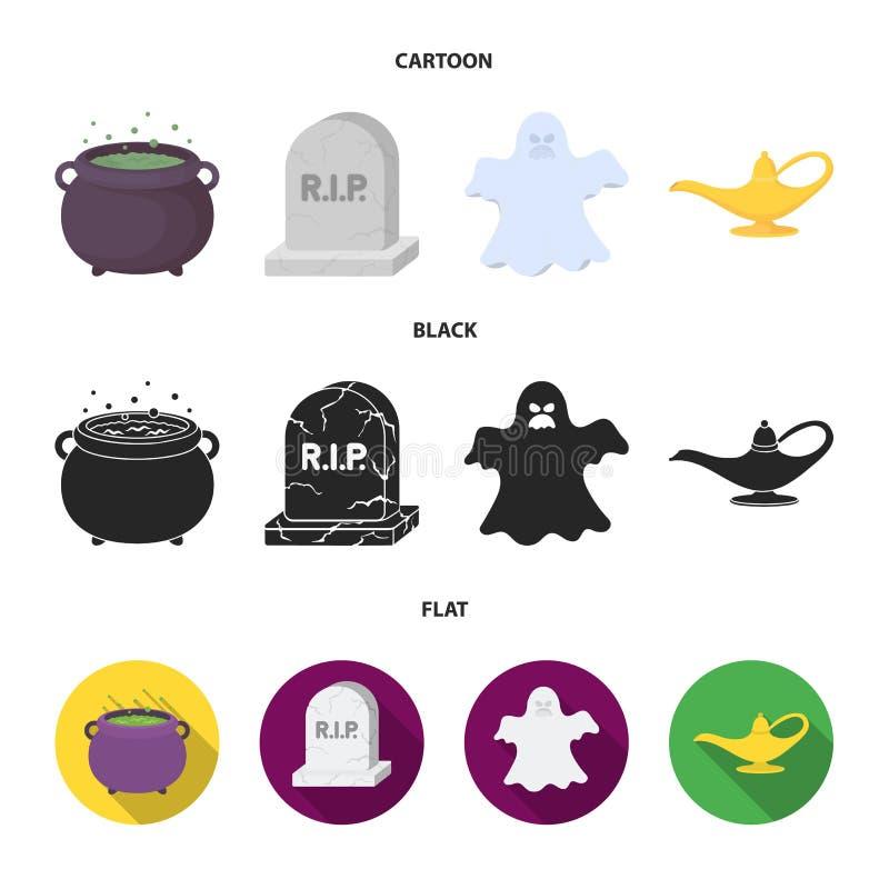 En häxakittel, en gravsten, en spöke, en ginlampa Svartvita symboler för magiuppsättningsamling i tecknade filmen, svart, lägenhe royaltyfri illustrationer