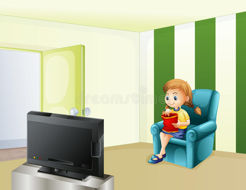 En hållande ögonen på TV för flicka, medan äta stock illustrationer
