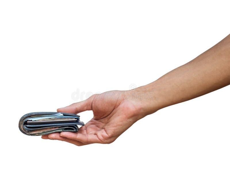 En hållande plånbok för manhand med pengar som isoleras på vit arkivbilder