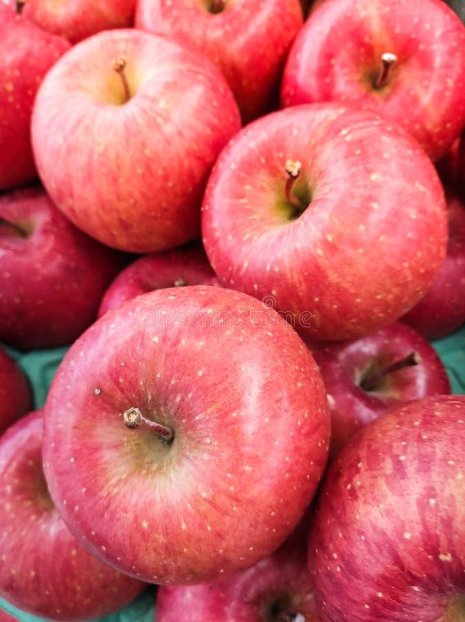 En hög av äpplen på marknaden royaltyfria foton