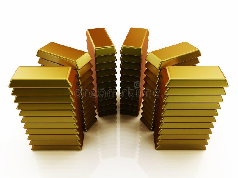En hög av trevliga skinande guld- stänger stock illustrationer