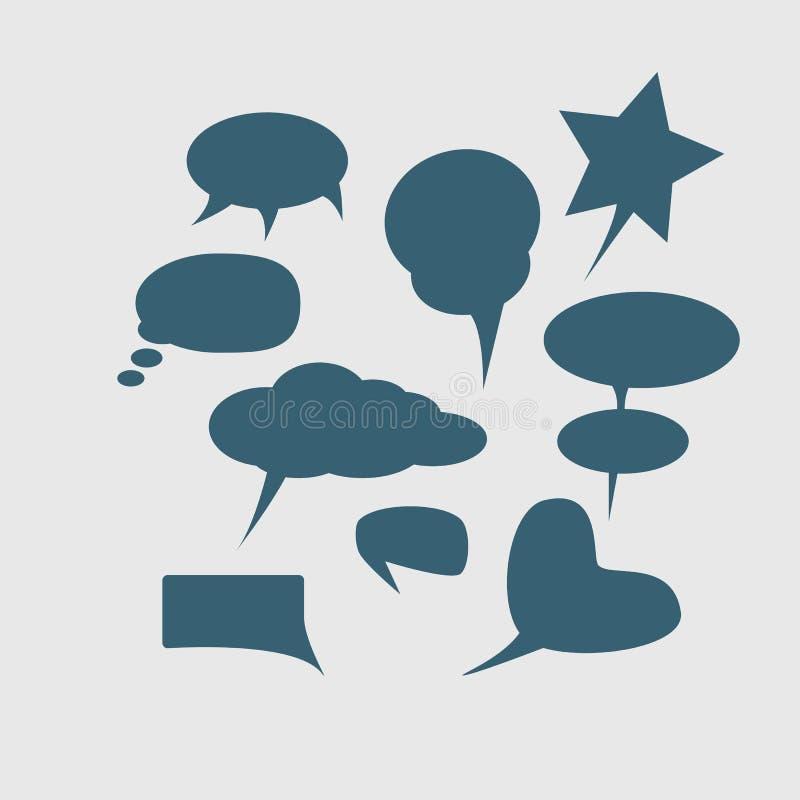 En hög detaljmodell av en typisk humorboksida med olika anförandebubblor, symboler och solida kulöra Halft för effekter och royaltyfri illustrationer