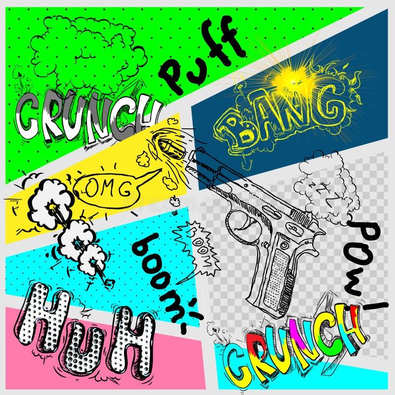 En hög detaljvektormodell av en typisk humorboksida med olika anförandebubblor, symboler och solida effekter stock illustrationer