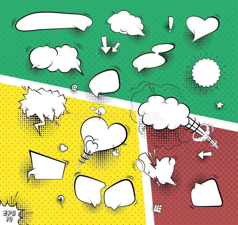 En hög detaljvektormodell av en typisk humorboksida med olika anförandebubblor stock illustrationer