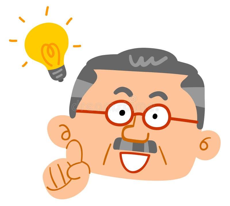 En hög man som exponerar, mellersta åldrig man, framsida stock illustrationer