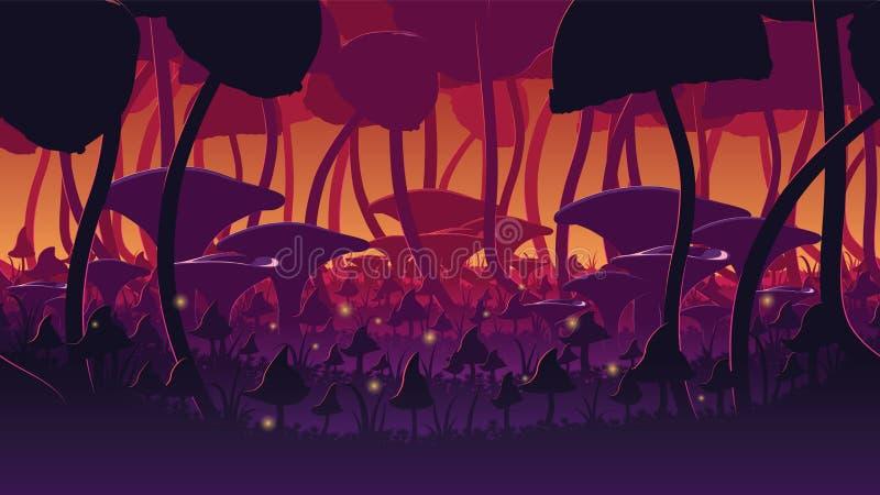 En högkvalitativ horisontalsömlös bakgrund av landskapet med den djupa champinjonskogen stock illustrationer