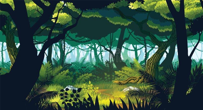 En högkvalitativ horisontalsömlös bakgrund av landskapet med den djupa djungeln vektor illustrationer