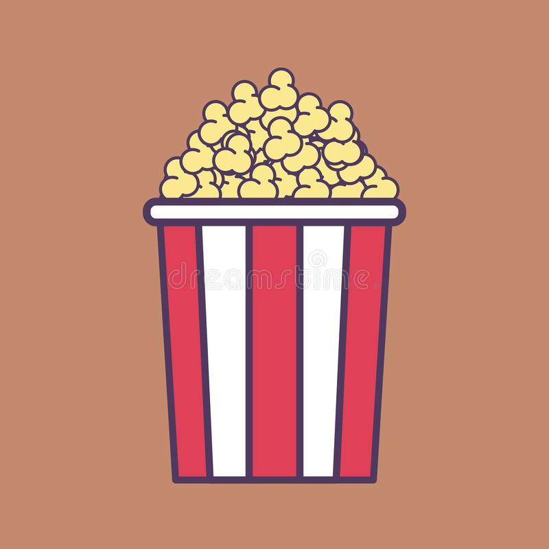 En högkvalitativ plan vektorillustration av en popcornhink stock illustrationer