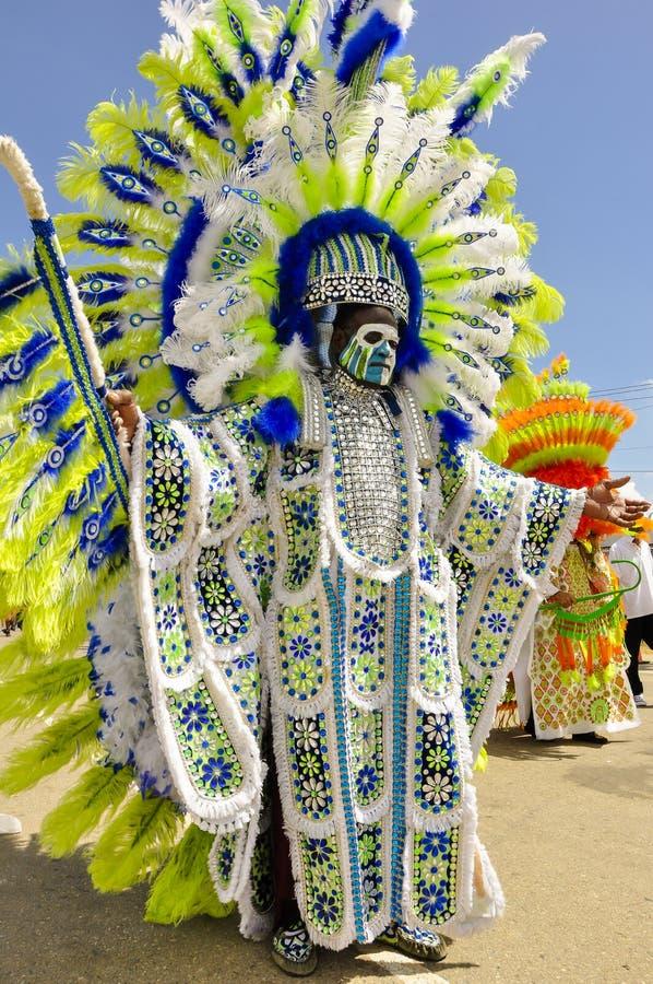 En högväxt manlig celebrant är iklädd indisk skrud på karnevaldag i Trinidad arkivfoto